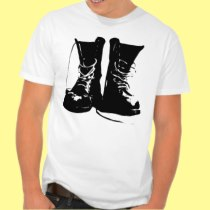 Black Leather Combat Boots Laces T Shirts