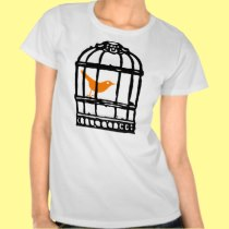 Orange Bird in Cage, Bird House, Bird Cage T Shirt