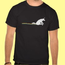 White Unicorn Dragging Rainbow Carpet Scooting Tshirt